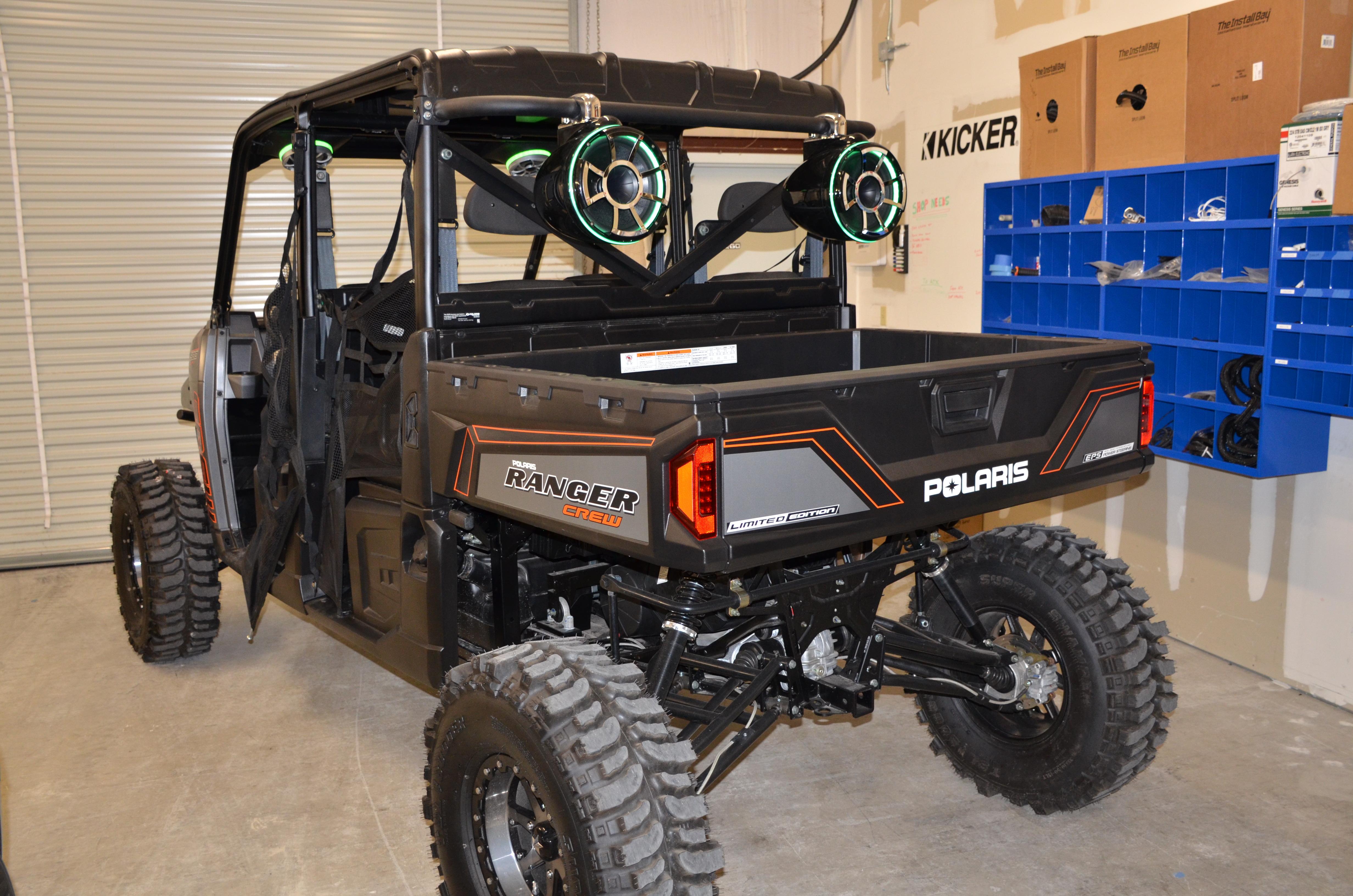 2014 Polaris Ranger Crew Lifted Wet Sounds JL Audio Pods Subwoofer REV10s Marine Amplifier Charging Cord